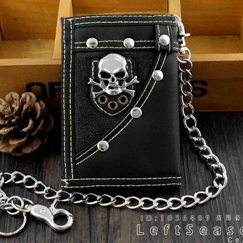 Trifold Casual Skull Wallet Money Purse With Jeans Pants Chain
