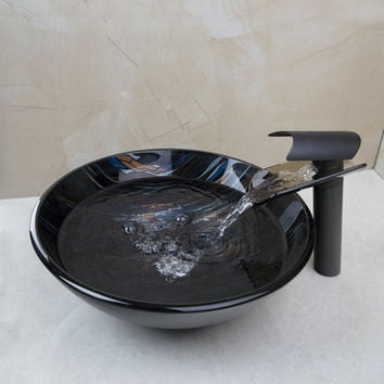 Luxury Round Bathroom Sink Washbasin Glass Hand-Painted +Black Tap 428197011-1