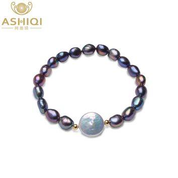ASHIQI Big 12-13mm Button Freshwater Pearl Bracelets Natural Black Baroque Pearl for women with 925 Sterling Silver Bead