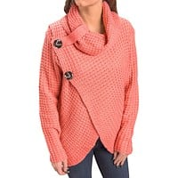 Coral Buttoned Wrap Cowl Neck Sweater
