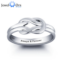 Personalized Love Promise Ring 925 Sterling Silver Simple Knot Ring Valentine's Day Gift (JewelOra RI101792)