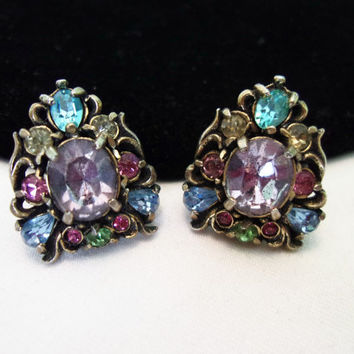 HOLLYCRAFT 1950 Brass Glass Rhinestone Earrings Pink Blue Purple