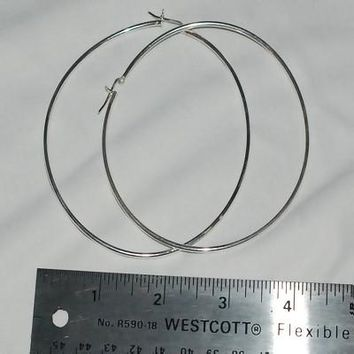 Closeout Sterling Silver Large 80mm  Italian Catch Pin Catch Hoop