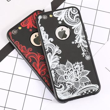 Luxury 360 Degree Full Body Cases For iphone 7 6 6s Plus Cover Sexy Paisley Flower Floral Phone Cases Soft TPU Silicone Shell