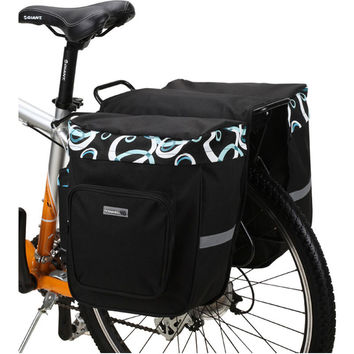 ROSWHEEL Bicycle Carrier Bag 30L Rear Rack Trunk  Luggage Back Seat Pannier Two Double Bags Outdoor Cycling Saddle Storage 14154