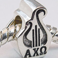 Alpha Chi Omega, ΑΧΩ  Lyre Double Faced Big Hole Euro Bead Charm .925 Sterling