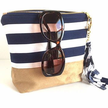 Large Striped Makeup Bag, Navy Cosmetic Bag, Large Zipper Pouch, Bridesmaid Gift