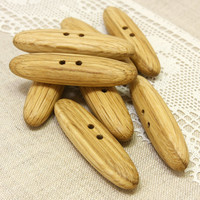 Large wooden toggles. Set of 8 handmade oak wood toggle buttons size  2.4in (60mm) - O0268