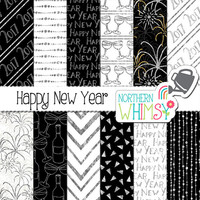"New Years Digital Paper - ""Happy New Year"" - black, white & silver 2017 New Years seamless patterns - scrapbook paper - commercial use CU OK"