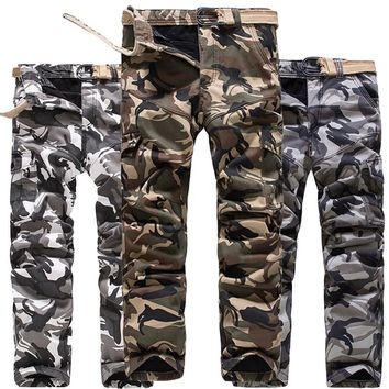 Multi Pocket Thick Warm Winter Cargo Pants Men Camouflage Fleece Lined Camo Trousers Plus Size 40 Army Green Snow White