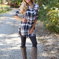 Natural Beauty Plaid Tunic Navy/Peach