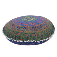 vintage Indian Large Mandala Floor Pillows case Round Bohemian Cushion Cover