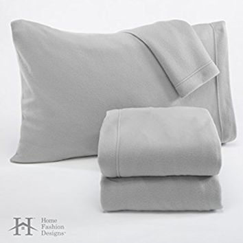 Fleece Super Soft Premium Sheet Set – Extra Plush Pill-Resistant All Season Cozy Breathable Hypoallergenic (Twin, Grey)