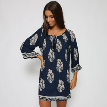 Loose Leaf Print Dress