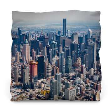 New York City from Above Outdoor Throw Pillow