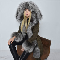 Ultralarge fox fur 2016 Winter jacket Women Down jackets Women's down coat fur Hood medium-long female overcoat outerwear Plus