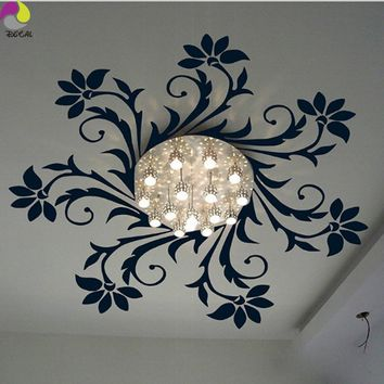 Ceiling Chandelier Wall Sticker Kids Room Flower Chandelier Lantern Light Lamp Decal Bedroom Living Room Vinyl Home Decor Art
