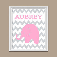 Elephant Girl Wall Art Nursery Artwork Child Custom Chevron Pink Gray Pattern Boy Personalized Letters Name Baby Decor Shower Gift Crib