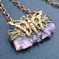 Amethyst Druzy Necklace, February Birthstone, Butterfly Necklace,  DruzyJewelry, Amethyst Jewelry, Gemstone Jewelry