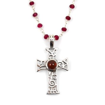 Ruby and Sterling Silver Rosary Chain