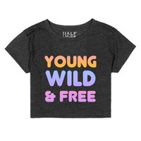 young wild and free crop-Female Heather Onyx T-Shirt