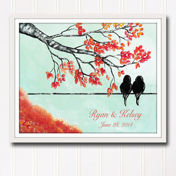 Personalized Wedding Print Mint and Coral Wedding Couple Gift Anniversary Love Birds Art Personalized Wedding Tree Art Bridal Shower Gift