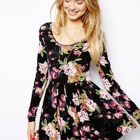 ASOS Floral Playsuit with Long Sleeves