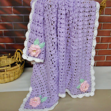 Purple Baby Blanket with Pink Flowers Roses, Crochet Afghan Lap Blanket Throw, Handmade Knitted Girl Blanket, Baby Shower Gift
