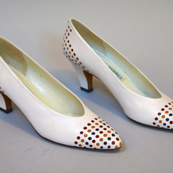 Vintage 80s White Leather Color Block Liz Claiborne Pumps Polka Dots Size 9 N