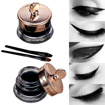 Dropship Makeup Set Long Lasting 1pcs Henna Eye Liner Gel + 1pcs Make Up Brush Waterproof Black Eyeliner Tattoo Gel