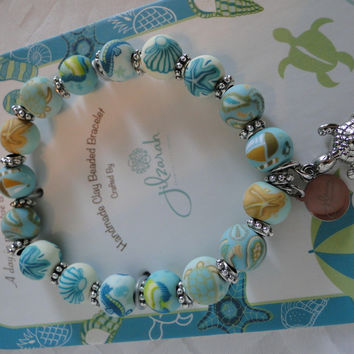 JILZARA Clay Beads PARADISE BEACH Sea Turtle Blue Petite 8mm Bracelet