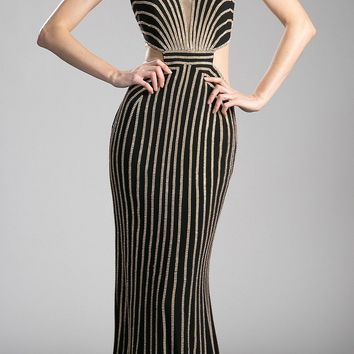 Gold/Black Long Prom Dress with Sheer Side Cut-Outs