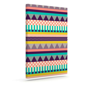 "Louise Machado ""Decorative Stripes"" Teal Pink Outdoor Canvas Wall Art"