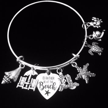 Beach Expandable Charm Bracelet Nautical Jewelry One Size Fits All Gift Adjustable Wire Bangle Beach Chair Sand Castle Star Fish Shell Turtle Crab Dolphin