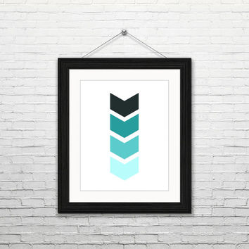 Mint Chevrons, 8x10 digital download, geometric print, home decor, modern, instant print, printable wall art, minimalist, blue mint black