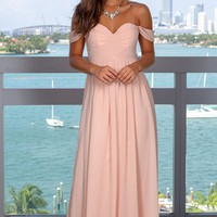 Blush Pleated Maxi Dress