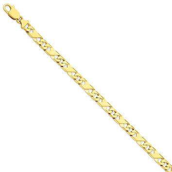 14k Yellow Gold Men Fancy Link Chain Bracelet - Fine Jewelry Gift