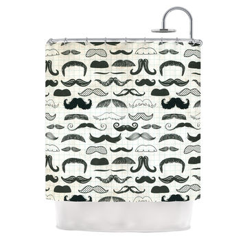 "Heidi Jennings ""Stached"" Gray Black Shower Curtain"