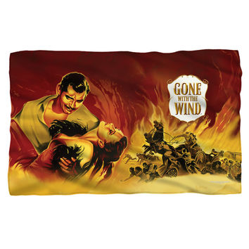 GONE WITH THE WIND/FIRE POSTER-FLEECE BLANKET-WHITE-36x58