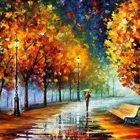 "FALL MARATHON   —  Oil Painting On Canvas By Leonid Afremov Size: 40""x30"""