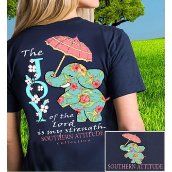 Southern Attitude Preppy Joy Elephant Navy T-Shirt