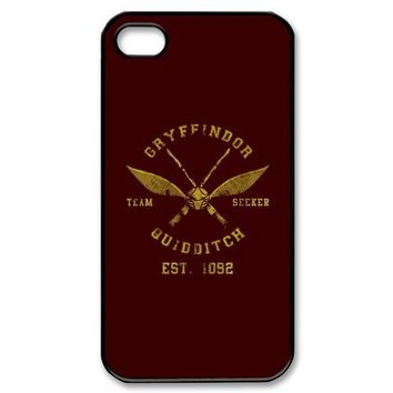 Custom Personalized Harry Potter Gryffindor Quidditch Cover Hard Plastic iPhone 4 4S Case