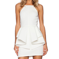 OH MY LOVE Peplum Mini Dress in Ivory