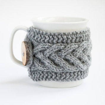 Cup Cozy in Grey, Knitted Mug Cozy, Coffee Cozy, Tea Cup Cozy, Handmade Wooden Button, Coffee Cozy Sleeve, Warmer, Winter, Gift