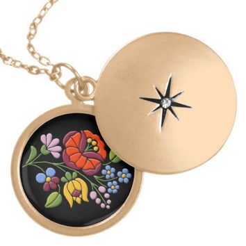 Kalocsa Embroidery - Hungarian Folk Art locket from Zazzle.com