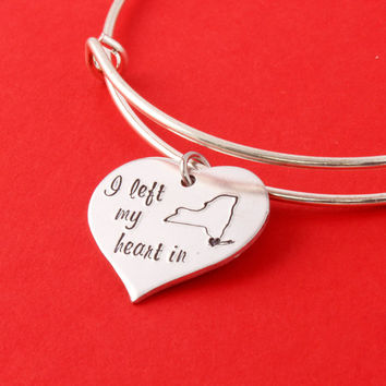 Custom State Bracelet - Adjustable Bangle Bracelet - Long Distance Love - Travel Gift - College Student Gift