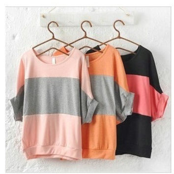 045£¬Loose T Shirt women's Tops Crew Neck T-Shirt Stripe Batwing Short Sleeve Blouse for Women Tee Female top = 1946589380