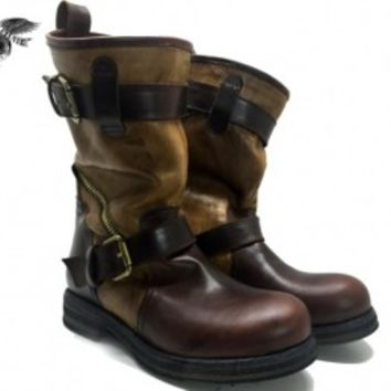 Brown engineer boots