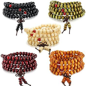 Besteel 1-5PCS Mens Womens Wood Necklace Chain Bracelets 108 Buddhist Strand Wood Prayer Beads Sandalwood Link Wrist