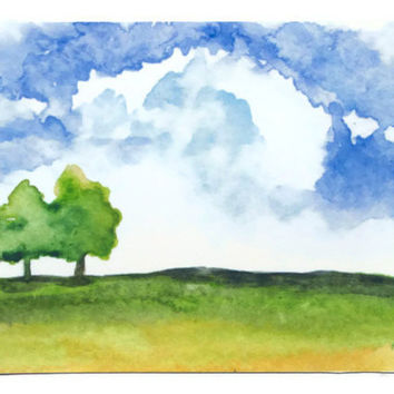 Summer Landscape Watercolor Painting ACEO
